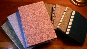 hand bound books with hand woven covers