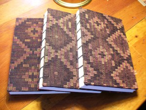 handbound books with hand woven covers