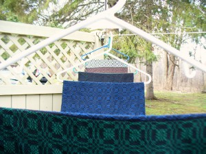 book cloth drying outside