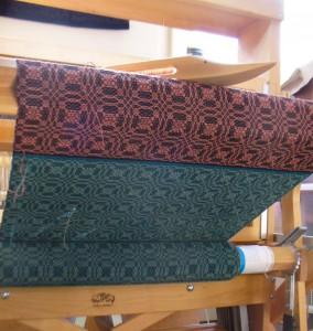 book cloth going onto cloth beam