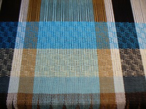 turquoise and pale yellow stripes