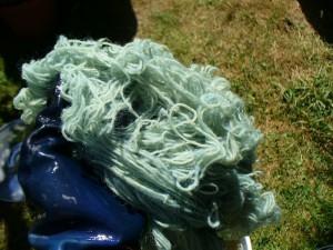 wool yarn from woad vat oxidizing