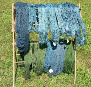 drying woad yarns