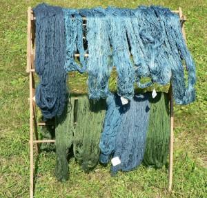 drying woad yarns