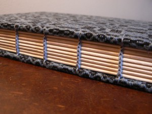 woad dyed pattern weft with black tabby and blue thread