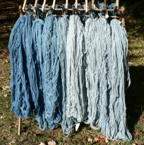 woad dyed protein yarns