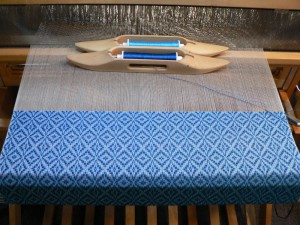 blue pattern weft and blue tabby