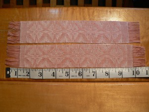 pink twill bookmarks with tape measure