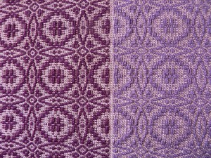 reddish purple cotton next to bluish purple cotton