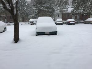 van under snow